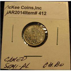 412. 1945 Newfoundland Five Cent Silver. Choice BU. Cameo Semi Proof-like.
