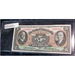 413. 1935 $5 Bank of Nova Scotia, Canada #2190997. EF. W/white paper & problem free note. PQ.