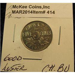 414. 1927 Canada Nickel. Choice BU. Good luster.