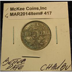 417. 1924 Canada Nickel. Choice AU/BU. Better date.