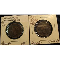 420. 1894 & 1895 Canada Large Cents VF & Choice VF/EF. Better dates. (2 pcs.).