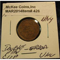 "426. 1861-65 Civil War Token ""Army & Navy"" Unc. Double-clip error."