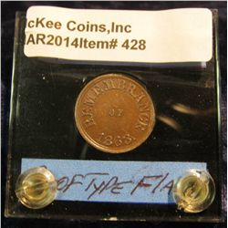 """428. 1863 Civil War Token """"Remembrance of 1863"""" Choice BU. Struck on a double thick square rim Proof"""