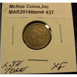 437. 1870 Three Cent Nickel. EF 40.
