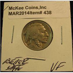 438. 1927 S Buffalo Nickel. VF. Toned. Better date.