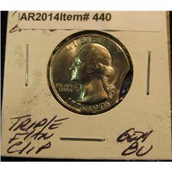 440. 1976 Bicentennial Quarter Error Triple flan clip. Gem BU.
