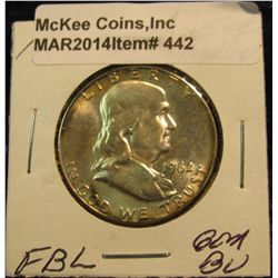 442. 1962 P Franklin Half Dollar. Gem BU. Full Bell lines. Lite tone.