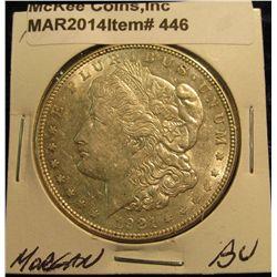 446. 1921 D Morgan Silver Dollar. BU.