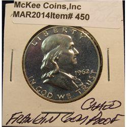 450. 1962 P Franklin Half Dollar. Gem Cameo Proof.