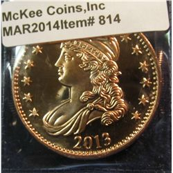 814.   1 ounce copper – 2013 Capped Bust design