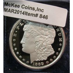 846. Copy of an 1889-CC Morgan Silver Dollar, silver-plated, marked COPY