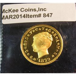 847. Copy of an 1879 $4 gold Stella – coiled hair variety – gold plated, marked COPY, faithful repro