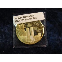 741. Remembering 9/11 gold-plated commemorative medal – features Statue of Liberty & Twin Towers wit