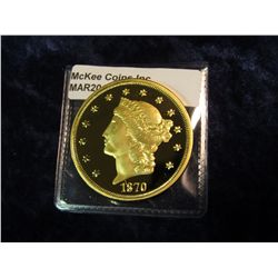 750. Copy of an 1870-CC $20 Liberty gold coin – gold plated, marked COPY