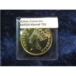 755. Oversized 1854 $3 gold coin – silver dollar sized, gold plated, marked COPY