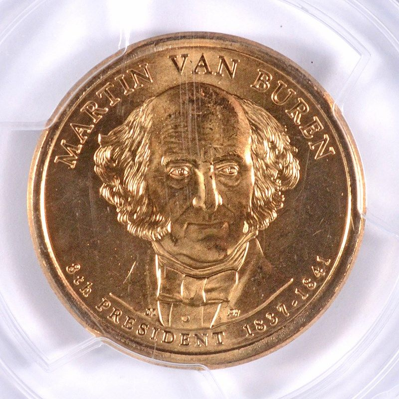 PCGS MS68 2008-D Martin Van Buren Presidential Dollar Satin Finish Position A