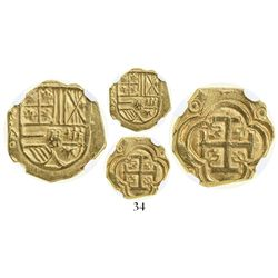 Bogota, Colombia, cob 2 escudos, Philip IV, assayer A to left below mintmark NR (ca. 1635), from the