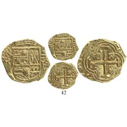 Bogota, Colombia, cob 2 escudos, Philip IV, assayer R to right, mintmark NR to left (early 1650s), f