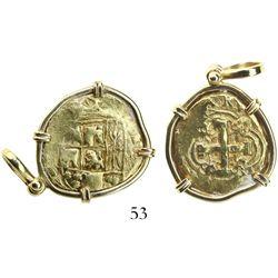 Bogota, Colombia, cob 2 escudos, Philip V, assayer M (1732-44), mounted in 18K pendant-bezel.
