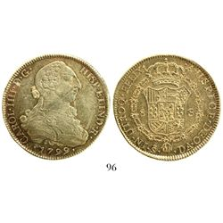 Santiago, Chile, bust 8 escudos, Charles IV (bust of Charles III), 1799DA.