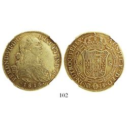 Bogota, Colombia, bust 8 escudos, Ferdinand VII (bust of Charles IV), 1813JF, encapsulated NGC AU 53