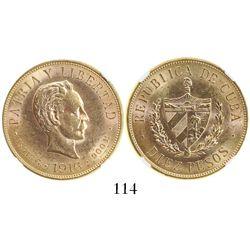 Cuba, 10 pesos, 1916, encapsulated NGC MS 61.
