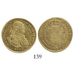 Lima, Peru, bust 2 escudos, Charles IV, 1799IJ.