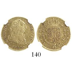 Lima, Peru, bust 1 escudo, Charles III, 1783MI, encapsulated NGC XF 45.
