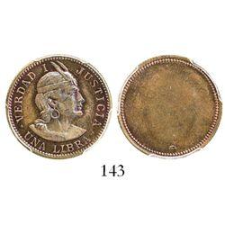 Peru, 1 libra, (1898), copper uniface pattern, encapsulated PCGS SP64BN.