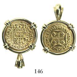 Lisbon, Portugal, 1000 reis, Joao V, 1709, mounted in 18K pendant-bezel.