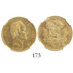 Venezuela, (5 venezolanos), 1875-A, encapsulated NGC AU 58.