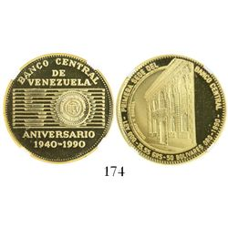 Venezuela, proof 50 bolivares, 1990, Central Bank anniversary, encapsulated NGC PF 67 Ultra Cameo.