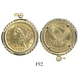 USA (Philadelphia mint), $5 coronet Liberty, 1901, mounted in 14K pendant bezel.