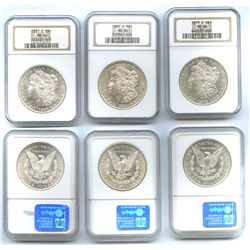 Lot of 3 USA (San Francisco mint) $1 Morgan, 1879-S, 1880-S and 1881-S, all encapsulated NGC MS 66 (