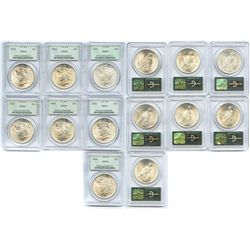 Lot of 7 USA (Philadelphia mint) $1 Peace, 1923, 1924 (3) and 1925 (3), all encapsulated PCGS green
