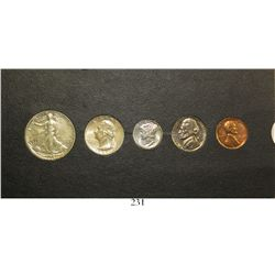 USA (Philadelphia mint), 1941 five-coin Proof set of 50c, 25c, 10c, 5c and 1c, in original cardboard