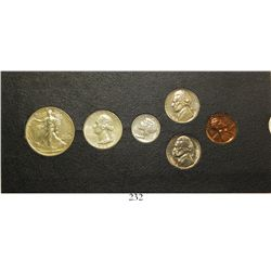 USA (Philadelphia mint), 1942 six-coin Proof set of 50c, 25c, 10c, 5c (two) and 1c, in original card
