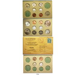 Original double mint set (22 coins) of 1955 USA (Philadelphia and San Francisco mints) 50c (2), 25c