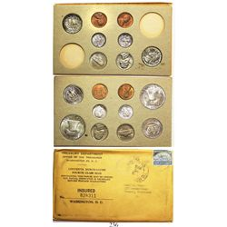 Original double mint set (18 coins) of 1956 USA (Philadelphia and Denver mints) 50c (2), 25c (4), 10