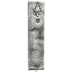Neatly formed silver ingot from the Rooswijk (1739), 1965 grams, about 98.5% fine, with stamps of th