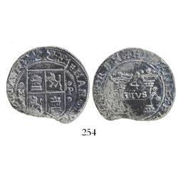 """Mexico City, Mexico, 4 reales, Charles-Joanna, """"Early Series,"""" oMo to left, oPo to right, left-leani"""