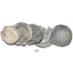 """Lot of 5 Mexico City, Mexico, 4 reales (3) and 2 reales (2), Charles-Joanna, """"Late Series,"""" various"""