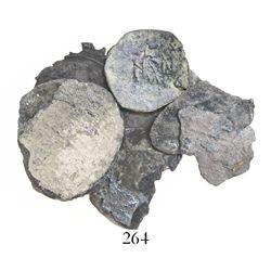 Lot of 7 fragments, all but one Mexican silver coins of Charles-Joanna but the last item some kind o