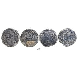 "Lot of 2 Mexico City, Mexico, 4 reales, Charles-Joanna, ""Early Series,"" assayer P."