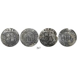 """Lot of 2 Mexico City, Mexico, 4 reales, Charles-Joanna, """"Late Series,"""" assayer G to right, mintmark"""