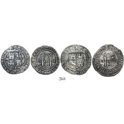 """Lot of 2 Mexico City, Mexico, 4 reales, Charles-Joanna, """"Late Series,"""" assayer L to right, mintmark"""