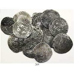 """Lot of 15 Mexico City, Mexico, 4 reales, Charles-Joanna, """"Late Series,"""" assayers G and L (where visi"""
