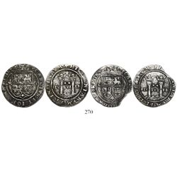 """Lot of 2 Mexico City, Mexico, 2 reales, Charles-Joanna, """"Late Series,"""" assayers G and L to right, mi"""