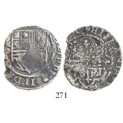 "Mexico City, Mexico, cob 4 reales, Philip II, assayer O below mintmark oM to left, reversed ""S"" in P"