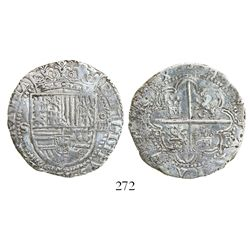 Seville, Spain, cob 4 reales, Philip II, assayer Gothic D at 4 o'clock outside tressure around cross